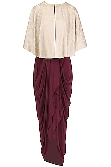 Oxblood Dhoti and Bustier with Beige Cape