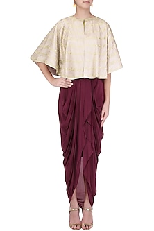 Oxblood Dhoti and Bustier with Beige Cape by Kazmi India