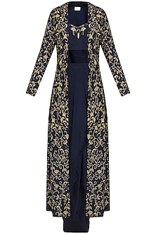 Navy Dhoti and Bustier with Embroidered Long Cape