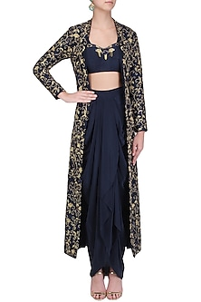Navy Dhoti and Bustier with Embroidered Long Cape by Kazmi India