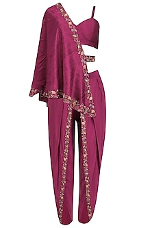 Maroon Embroidered Dhoti and Bustier with One-Shoulder Cape