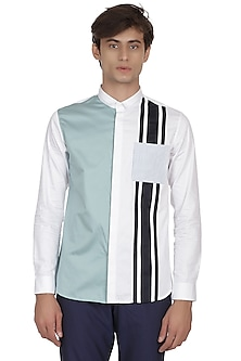 White Color Blocked Shirt by LACQUER Embassy