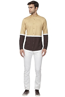 Tan Color Blocked Shirt by LACQUER Embassy