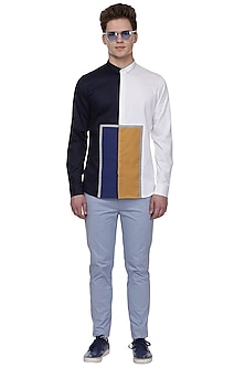 Blue & White Color Blocked Shirt by LACQUER Embassy