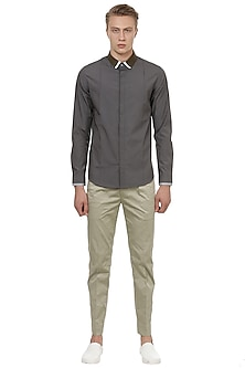 Dark Grey Cotton Shirt by LACQUER Embassy