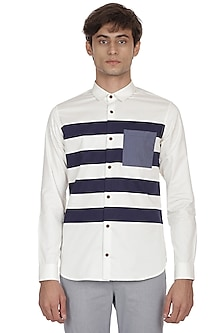 Ecru & Navy Blue Striped Shirt by LACQUER Embassy