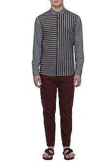 Grey Printed Striped Shirt by LACQUER Embassy