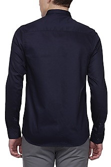 Navy Blue Printed Shirt by LACQUER Embassy