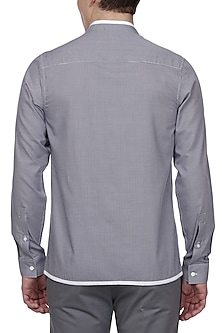 White & Blue Paneled Shirt by LACQUER Embassy