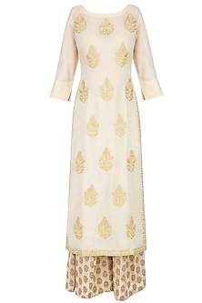 Ivory Golden Thread Embroidered Kurta with Palazzo Pants