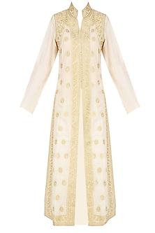 Ivory and Gold Ari Embroidered Jacket Style Kurta by Lajjoo c
