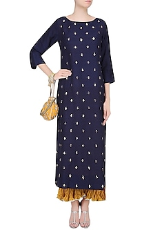 Blue Badla Work Kurta with Yellow Crushed Pants by Lajjoo c