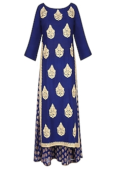 Blue Floral Motifs Embroidered Kurta with Palazzo Pants