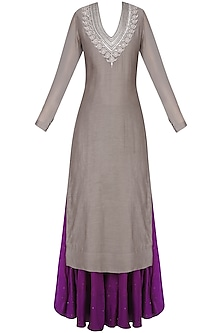 Grey Sanjay Embroidered Kurta with Aubergine Color Ghagra