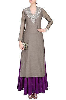 Grey Sanjay Embroidered Kurta with Aubergine Color Ghagra by Lajjoo c