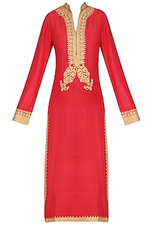 Red Golden Ari Embroidered Kurta