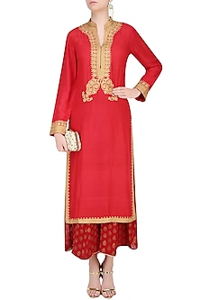 Red Golden Ari Embroidered Kurta by Lajjoo c