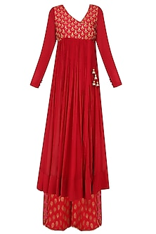 Red Thread Embroidered Overlap Kurta with Sharara Pants