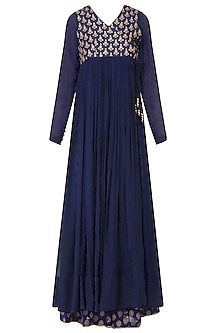 Blue Golden Thread Embroidered Overlap Kurta With Sharara Pants