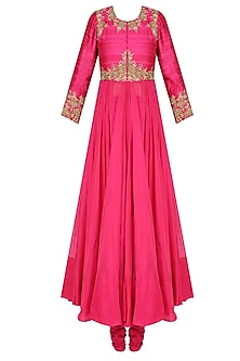 Pink Rosette Embroidered Kalidaar Kurta Set