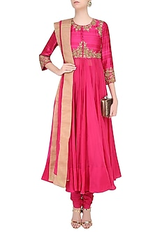 Pink Rosette Embroidered Kalidaar Kurta Set by Lajjoo c