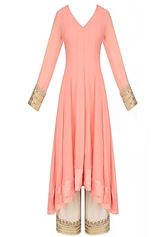 Peach Floral Embroidered Asymmetric Kurta with Wide Leg Pants by Lajjoo c