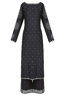 Black Badla Work Bandhani Kurta with Wide Leg Pants
