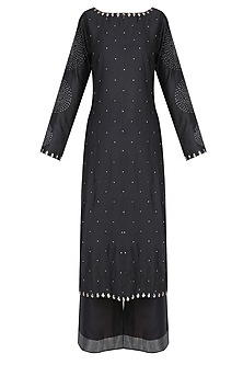 Black Badla Work Bandhani Kurta with Wide Leg Pants by Lajjoo c