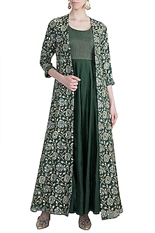 Olive Green Embroidered Gown With Jacket by LOKA By Veerali Raveshia