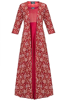 Red Embroidered Gown With Jacket by LOKA By Veerali Raveshia