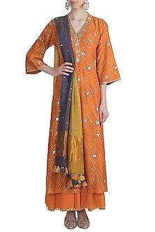 Orange Embroidered Sharara Set by Loka by Veerali