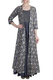 Grey Embroidered Gown With Jacket by LOKA By Veerali Raveshia