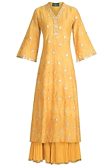 Yellow Embroidered Sharara Set by Loka by Veerali