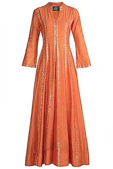 Orange Hand Embroidered Sharara Set by Loka by Veerali