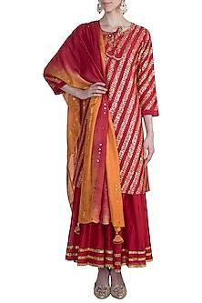 Red Embroidered Sharara Set by LOKA By Veerali Raveshia