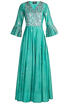 Aqua Blue Embroidered Anarkali With Dupatta by Loka by Veerali
