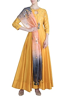 Mango Yellow Embroidered Anarkali With Dupatta by Loka by Veerali