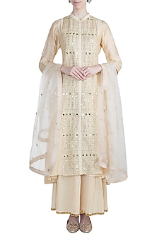Ivory Embroidered Sharara Set by Loka by Veerali