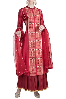 Red Embroidered Sharara Set by Loka by Veerali