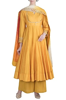 Mango Yellow Zardosi Embroidered Anarkali Set by Loka by Veerali