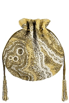 Matte gold and silver pschyadelic design potli/pouch by Lovetobag