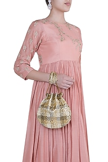 Gold Embroidered Potli by Lovetobag