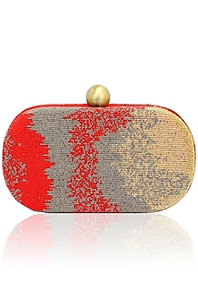 Red, gold and silver timeless box clutch by Lovetobag