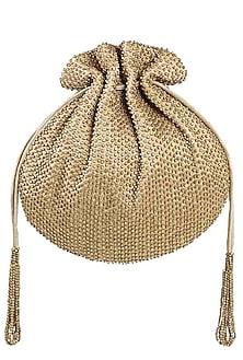 Gold Embroidered Sling Potli by Lovetobag