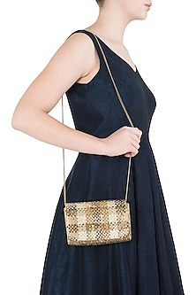 Gold Embroidered Flapover Clutch by Lovetobag