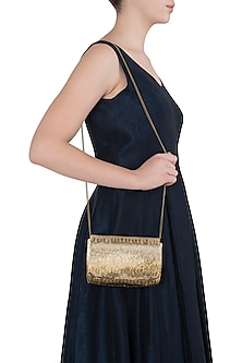 Gold Beads Embroidered Flapover Clutch