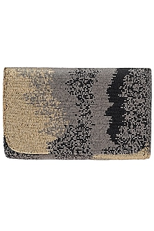 Black Ombre Embroidered Flapover Clutch by Lovetobag
