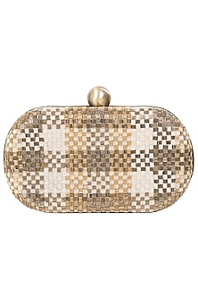 Gold Embroidered Box Clutch by Lovetobag