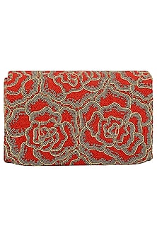 Red Embroidered Rosette Flapover Clutch by Lovetobag