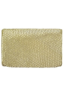 Gold Embroidered Cesta Flapover Clutch by Lovetobag